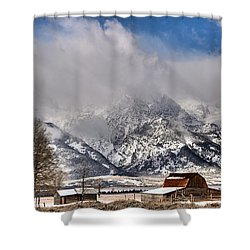 Shower Curtain featuring the photograph Teton Mountains Over Mormon Row by Adam Jewell