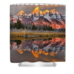 Teton Mountains Sunrise Rainbow Shower Curtain