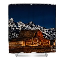 Teton Mountains With Barn Shower Curtain