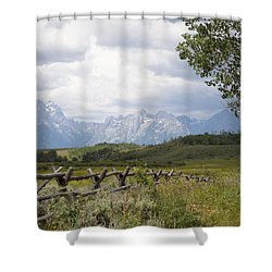Teton Ranch Shower Curtain by Diane Bohna