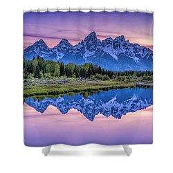 Sunset Teton Reflection Shower Curtain