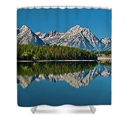 Shower Curtain featuring the photograph Teton Reflections by Gary Lengyel