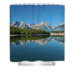 Shower Curtain featuring the photograph Teton Reflections II by Gary Lengyel