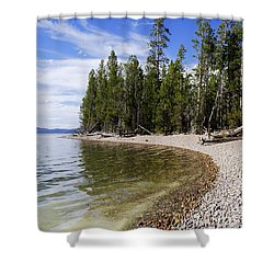 Teton Shore Shower Curtain by Chad Dutson
