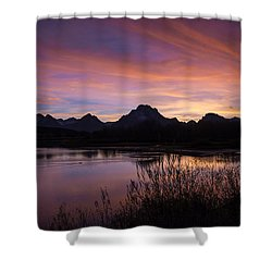 Shower Curtain featuring the photograph Teton Sunset by Gary Lengyel
