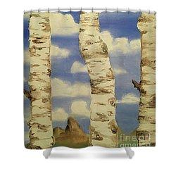 Teton View Thru Aspens Shower Curtain