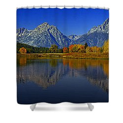 Tetons From Oxbow Bend Shower Curtain by Raymond Salani III