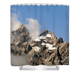 Tetons In Clouds II Shower Curtain