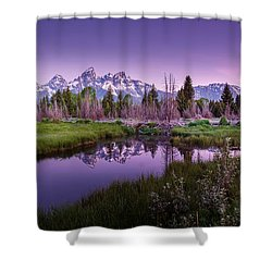 Tetons In Pink Shower Curtain by Mary Angelini