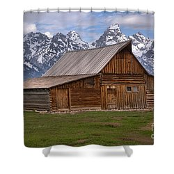 Tetons Towering Over The Moulton Barn Shower Curtain by Adam Jewell