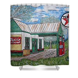 Shower Curtain featuring the painting Texaco Gas Station by Kathy Marrs Chandler