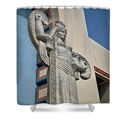 Shower Curtain featuring the photograph Texas Art Deco Sculpture by David and Carol Kelly