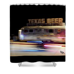 Texas Beer Fast Motorcycle #5594 Shower Curtain by Barbara Tristan