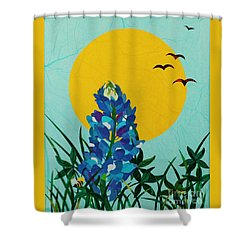 Shower Curtain featuring the mixed media Texas Bluebonnet by Diane Miller