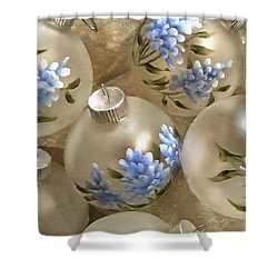 Texas Bluebonnet Ornaments Shower Curtain