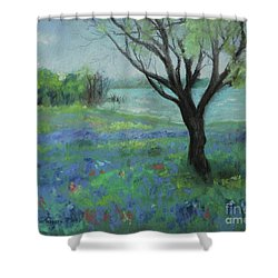 Shower Curtain featuring the painting Texas Bluebonnet Trail by Robin Maria Pedrero