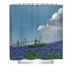Shower Curtain featuring the photograph Texas Bluebonnets And Spring Showers by David and Carol Kelly
