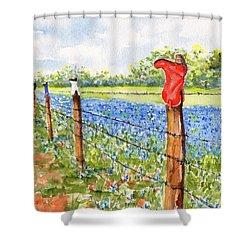 Texas Bluebonnets Boot Fence Shower Curtain