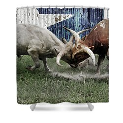 Texas Bull Fight  Shower Curtain