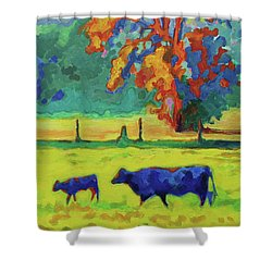 Texas Cow And Calf At Sunset Print Bertram Poole Shower Curtain by Thomas Bertram POOLE