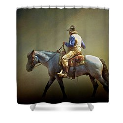 Shower Curtain featuring the photograph Texas Cowboy And His Horse by David and Carol Kelly