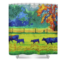 Texas Cows And Calves At Sunset Painting T Bertram Poole Shower Curtain by Thomas Bertram POOLE