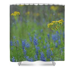Texas Field With Blue Bonnets Shower Curtain by Carolina Liechtenstein