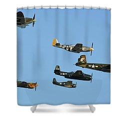 Texas Flying Legends Chino California April 29 2016 Shower Curtain by Brian Lockett