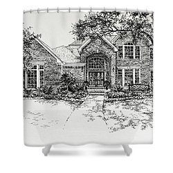 Shower Curtain featuring the painting Texas House Portrait 4 by Hanne Lore Koehler