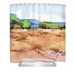 Texas Landscape In Watercolor Painting By Kmcelwaine Shower Curtain by Kathleen McElwaine