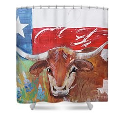Shower Curtain featuring the painting Texas Longhorn by Robin Maria Pedrero