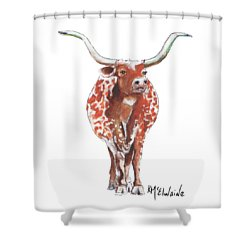 Texas Longhorn Taking The Lead Watercolor Painting By Kmcelwaine Shower Curtain