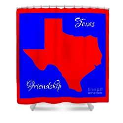 Texas Map In State Colors Blue White And Red With State Motto Friendship Shower Curtain by Rose Santuci-Sofranko