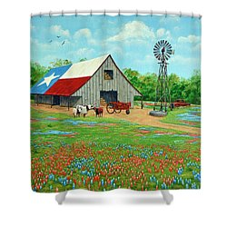 Shower Curtain featuring the painting Texas Ranch Barn by Jimmie Bartlett