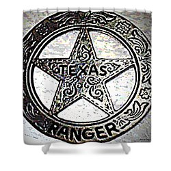 Shower Curtain featuring the photograph Texas Ranger Badge by George Pedro