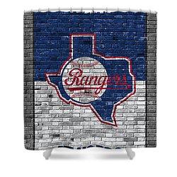Texas Rangers Brick Wall Shower Curtain