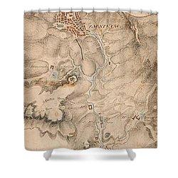 Texas Revolution Santa Anna 1835 Map For The Battle Of San Jacinto  Shower Curtain