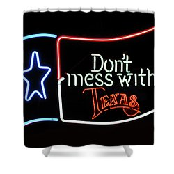 Shower Curtain featuring the photograph Texas Flag Saloon Neon by Daniel Hagerman