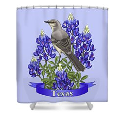 Texas State Mockingbird And Bluebonnet Flower Shower Curtain by Crista Forest