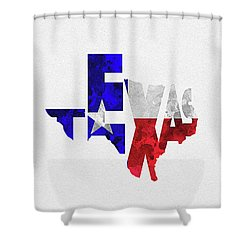 Texas Typographic Map Flag Shower Curtain