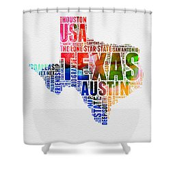 Texas Watercolor Word Cloud  Shower Curtain by Naxart Studio