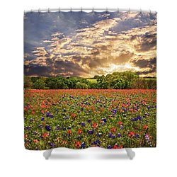 Texas Wildflowers Under Sunset Skies Shower Curtain