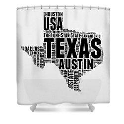 Texas Word Cloud 2 Shower Curtain by Naxart Studio