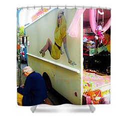 Texting Under Her Watchful Eye  Shower Curtain by Funkpix Photo Hunter