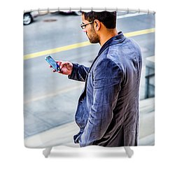 Man Texting Shower Curtain