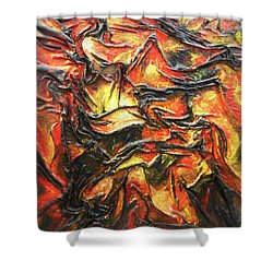 Shower Curtain featuring the mixed media Texture Of Fire by Angela Stout