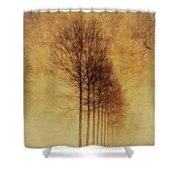 Shower Curtain featuring the mixed media Textured Eerie Trees by Dan Sproul