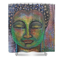 Textured Green Buddha Shower Curtain by Prerna Poojara