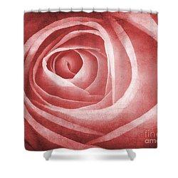 Textured Rose Macro Shower Curtain by Meirion Matthias