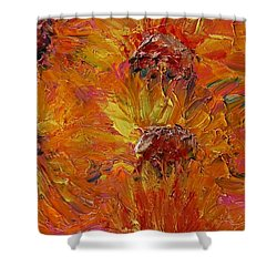 Textured Sunflowers Shower Curtain by Nadine Rippelmeyer